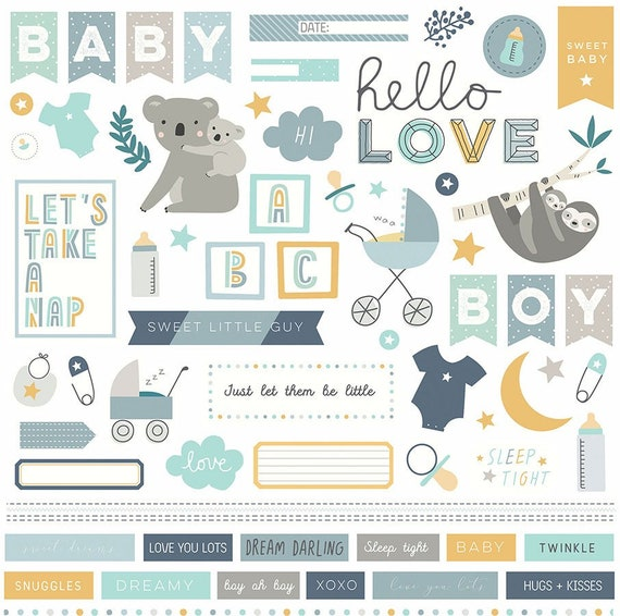 New! 1 - 12x12 Sheet of Photo Play SNUGGLE UP BOY Baby Theme Scrapbook Element Stickers