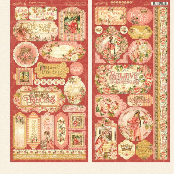 New! Graphic 45 PRINCESS Scrapbook Stickers