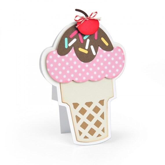 New! (will ship January 24th) Sizzix Framelits Die Set 7PK - Ice Cream Fold-its by Stephanie Barnard 664114