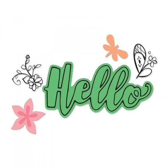 New! Sizzix Framelits Die Set 4PK w/Stamps - Hello #2 by Katelyn Lizardi 662924