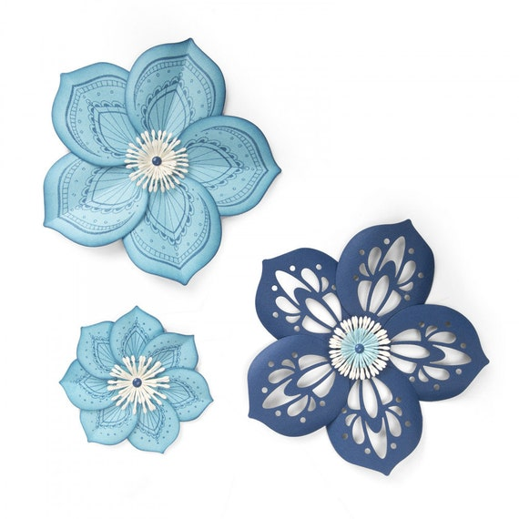New! Sizzix Framelits Die Set 5PK w/Stamps - Rosette Flower by David Tutera 663133