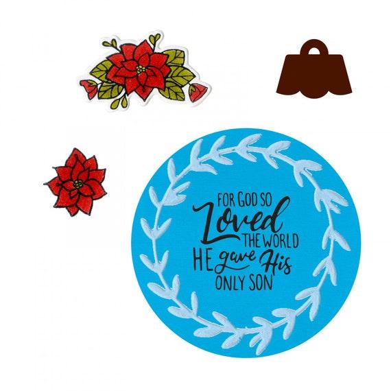 New! Sizzix Framelits Die Set 6PK w/Stamps - Wreath Ornament by Katelyn Lizardi 663161