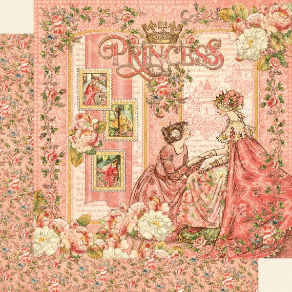 New! 2 Sheets of Graphic 45 PRINCESS Scrapbook Cardstock Paper - Princess (4501791)