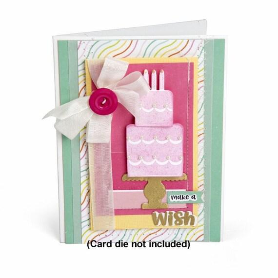 New! Sizzix Framelits Die Set 9PK w/Stamps - Make a Wish Cake by Lori Whitlock 662802