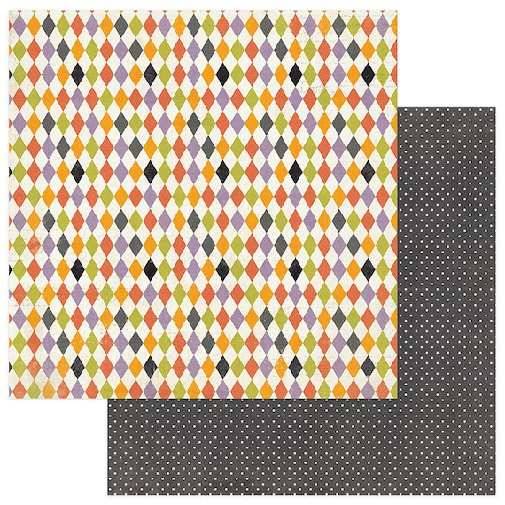 2 Sheets of Photo Play BOOTIFUL 12x12 Halloween Scrapbook Paper - Harlequin