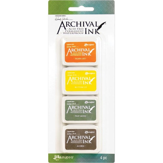 New! Wendy Vecchi Archival Mini Ink Pad Kit - Set # 5 (Tiger Lily, Buttercup, Peat Moss, and Acorn)