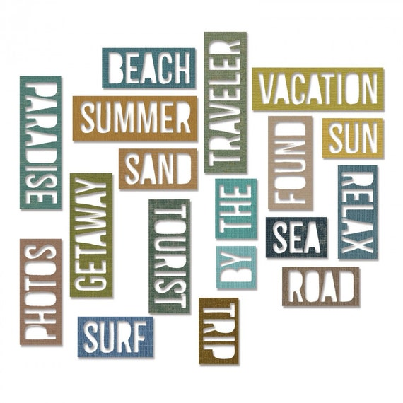 Sizzix Tim Holtz Thinlits Die Set 18PK - Vacation Words: Block 661287