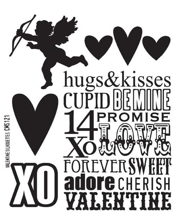 Tim Holtz VALENTINE SILHOUETTES Cling Mount Rubber Stamps Set CMS121 by Stampers Anonymous