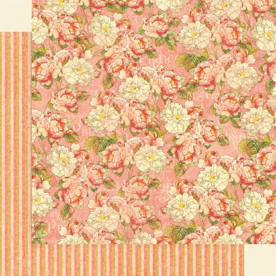 New! 2 Sheets of Graphic 45 PRINCESS Scrapbook Cardstock Paper - Roses for Royalty (4501794)