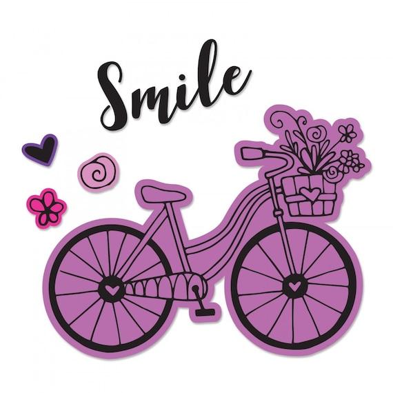 New! Sizzix Framelits Die Set 4PK w/Stamps - Bicycle #2 by Katelyn Lizardi 662908