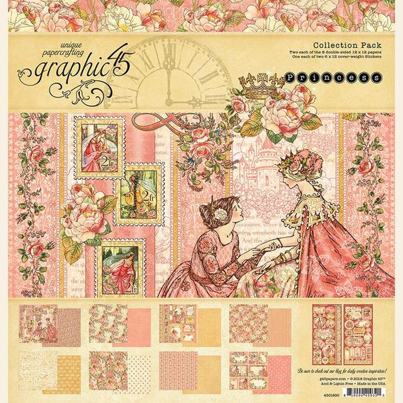 New! Graphic 45 PRINCESS 12x12 Double-Sided Scrapbook Paper Collection Pack