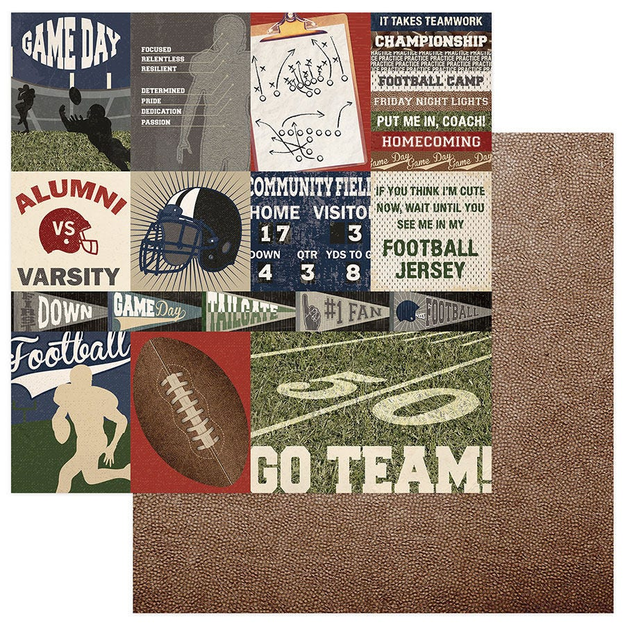 2 Sheets Of Photo Play End Zone 12x12 Football Scrapbook Cardstock