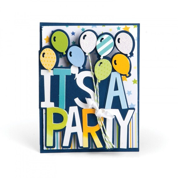 Sizzix Framelits Die Set 6PK - Card, It's a Party Drop-ins by Stephanie Barnard