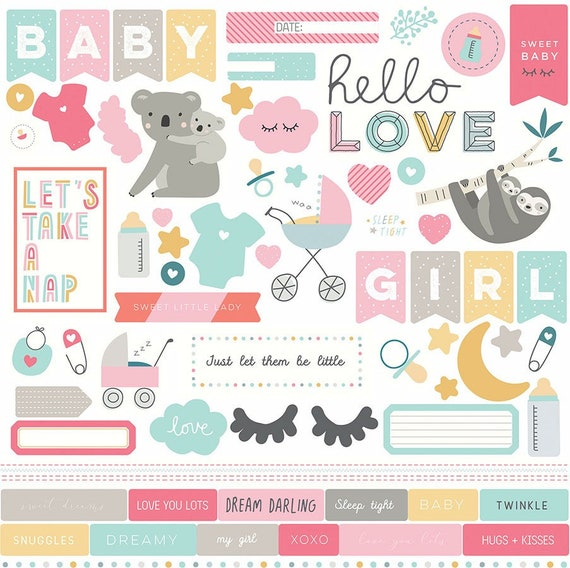 New! 1 - 12x12 Sheet of Photo Play SNUGGLE UP GIRL Baby Theme Scrapbook Element Stickers