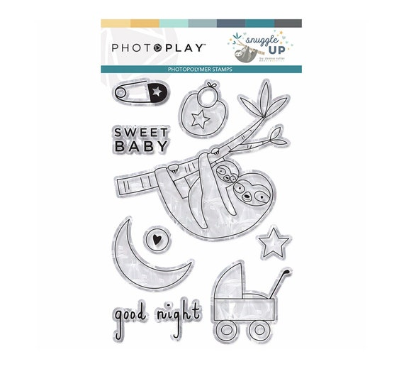 New! Photo Play SNUGGLE UP BOY Baby Theme Clear Polymer Stamp Set (SNB9247)
