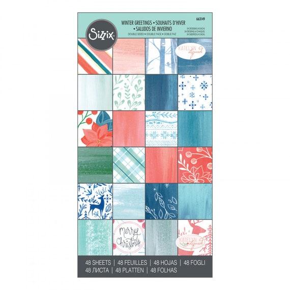 "New! Sizzix Paper - 6"" x 12"" Cardstock Pad, Winter Greetings, 48 Sheets by Katelyn Lizardi 663149"