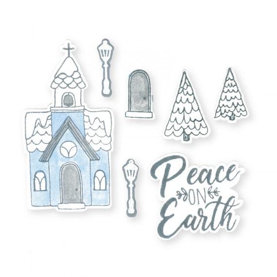 New! Sizzix Framelits Die Set 9PK w/Stamps - Church, Peace on Earth by Katelyn Lizardi 663163