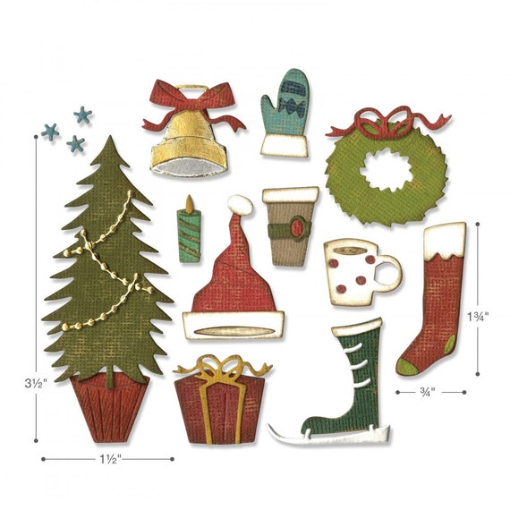 Sizzix Thinlits Tim Holtz Die Set Fireside-Navidad 664193-Nuevo