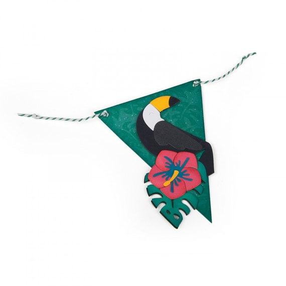 New! Sizzix Thinlits Die Set 10PK - Tropicool Banner by Lynda Kanase 662786