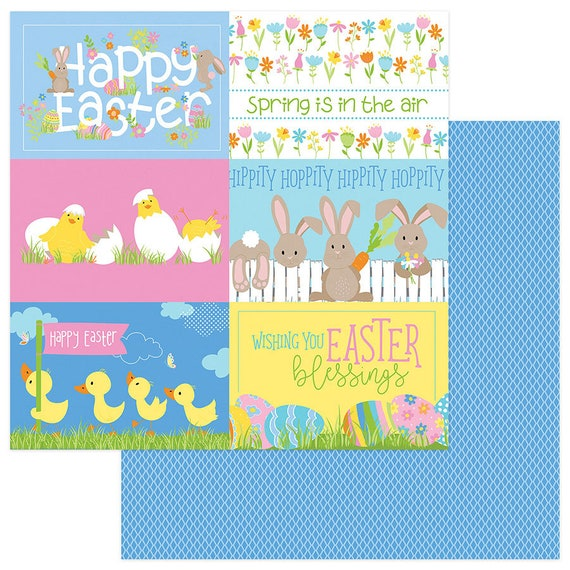 New! 2 Sheets of Photo Play BUNNY TRAIL 12x12 Easter Theme Scrapbook Cardstock Paper - Hippity Hoppity