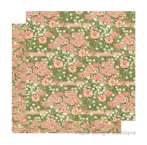 New! 2 Sheets of Graphic 45 GARDEN GODDESS Scrapbook Cardstock Paper - Happiness Blooms (4501749)