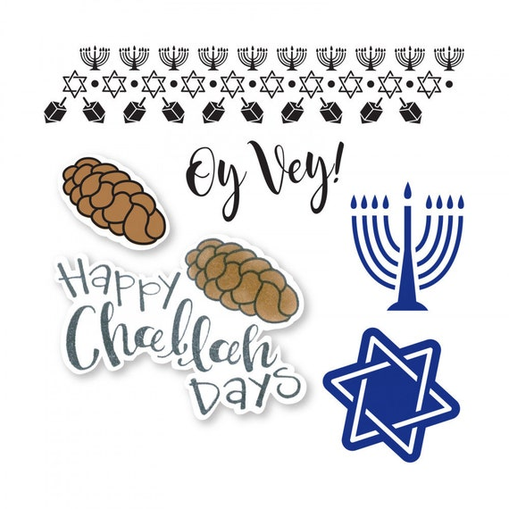 New! Sizzix Framelits Die Set 6PK w/Stamps - Happy Challah Days by Lindsey Serata 663165