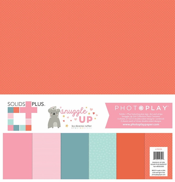 New! 2 Sheets of Photo Play SNUGGLE UP GIRL Solids+ 12x12 Baby Theme Scrapbook Cardstock Paper Pack