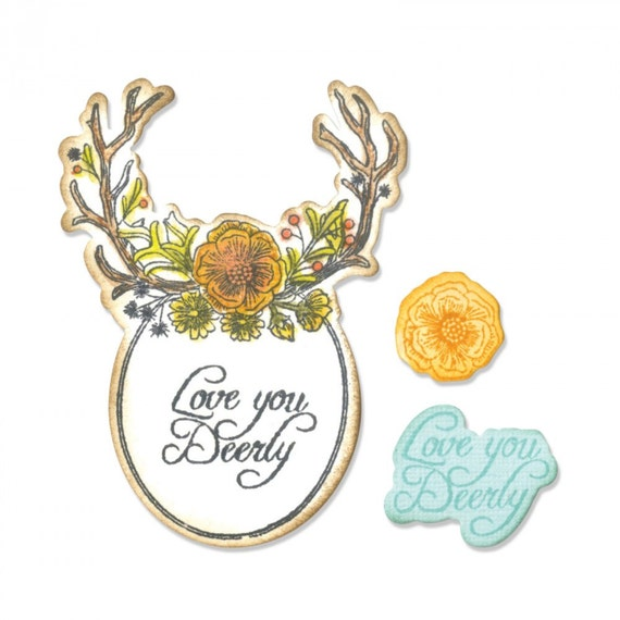 Sizzix Framelits Die Set 5PK w/Stamps - Sweet Deer by Jen Long 661132