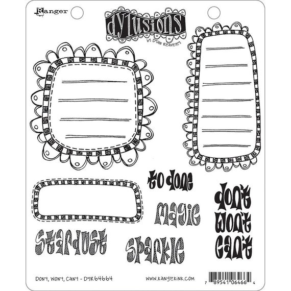 New! Dylusions DON'T, WON'T, CAN'T Cling Mount Rubber Stamps Set by Dyan Reaveley