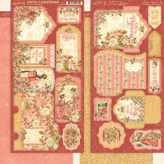 New! Graphic 45 PRINCESS Tags & Pockets Cardstock Die-Cuts