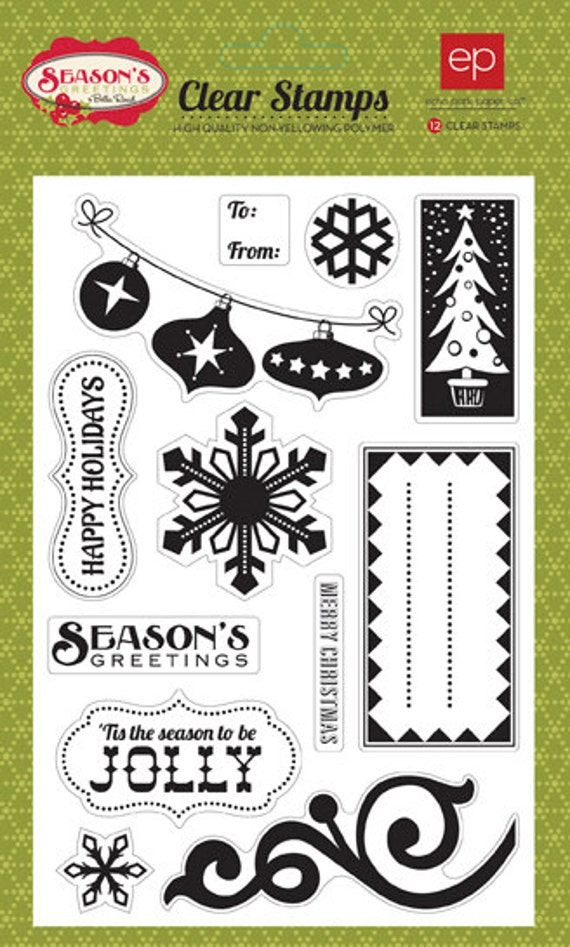 Echo Park Paper SEASON'S GREETINGS Christmas Holiday Clear Stamps Set SG21024