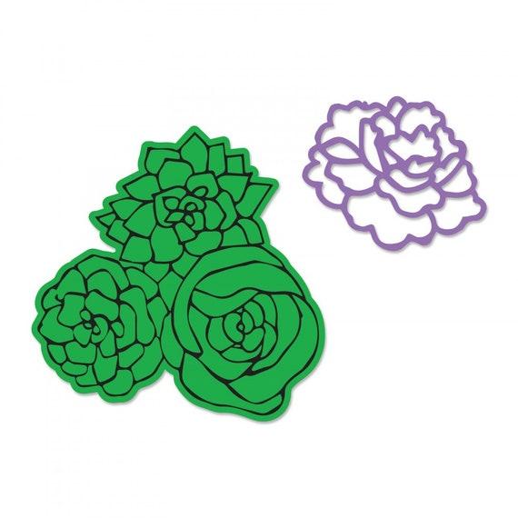 New! Sizzix Framelits Die Set 2PK w/Stamps - Floral Bouquet by Jen Long 662918