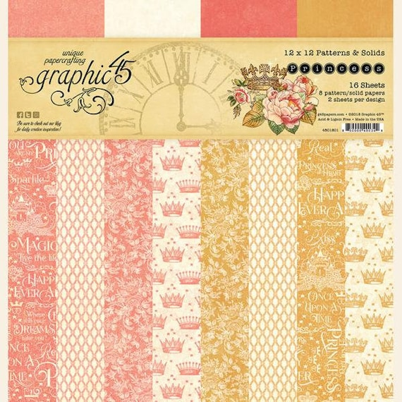 New! Graphic 45 PRINCESS 12x12 Patterns & Solids Double-Sided Scrapbook Paper Pad