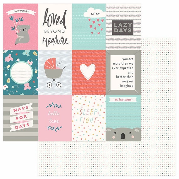 New! 2 Sheets of Photo Play SNUGGLE UP GIRL 12x12 Baby Theme Scrapbook Cardstock Paper - Loved Beyond Measure