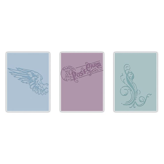 Sizzix Tim Holtz Texture Trades Embossing Folders - FRENCH CONNECTION SET (657192)