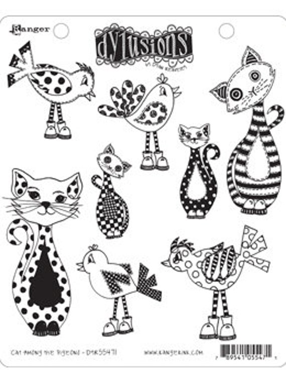 Dylusions CAT AMONG the PIGEONS Cling Mount Rubber Stamps Set by Dyan Reaveley DYR55471