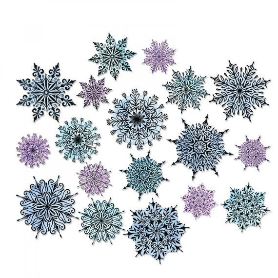 Sizzix Tim Holtz Framelits Die Set 18PK - Swirly Snowflakes 662436 (stamps not included)