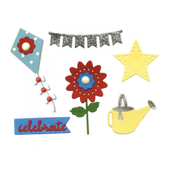 New! (will ship December 18th) Sizzix Thinlits Die Set 9PK - Summer Embellishments by Lori Whitlock 663189