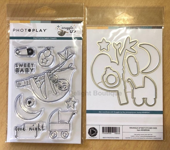 Photo Play SNUGGLE UP BOY Baby Theme Clear Polymer Stamps and Etched Dies Set