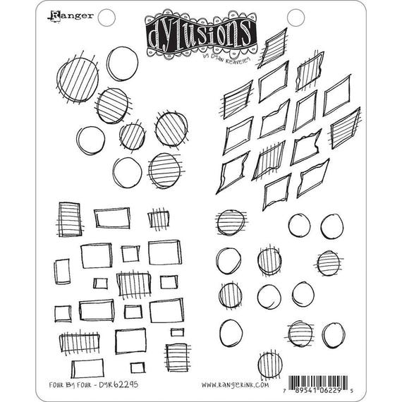 New! Dylusions FOUR BY FOUR Cling Mount Rubber Stamps Set by Dyan Reaveley