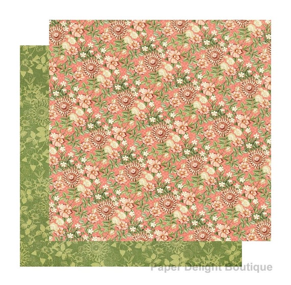 New! 2 Sheets of Graphic 45 GARDEN GODDESS Scrapbook Cardstock Paper - Fields of Flowers (4501746)