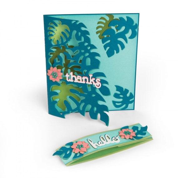 New! Sizzix Thinlits Die Set 5PK - Card Front, Tropicool Leaves by Lynda Kanase 662785