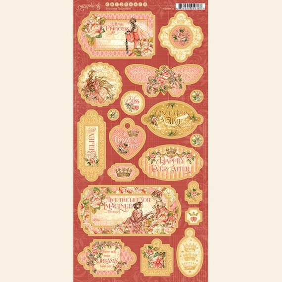 New! Graphic 45 PRINCESS 6x12 Chipboard Sheet