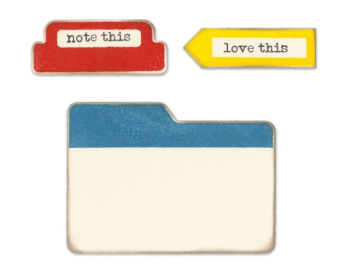Sizzix Framelits Die Set 3PK w/Clear Stamps - Tabs & Words by Jillibean Soup 660412