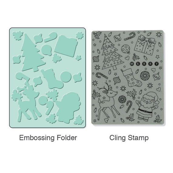 Sizzix Textured Impressions Embossing Folder w/ Hero Arts Red Rubber Cling Stamp - Merry Background Set (657770)