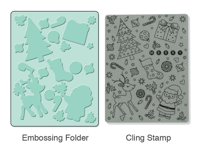 Sizzix Textured Impressions Embossing Folder w/ Hero Arts Stamp - Merry Background Set (657770)