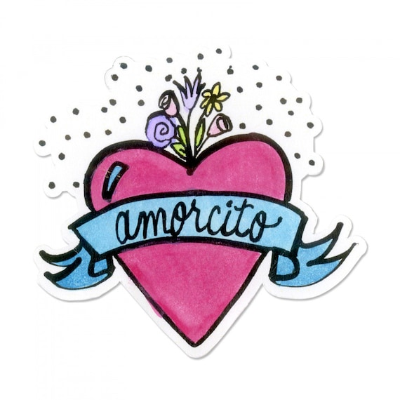 New! Sizzix Framelits Die w/Stamp - Amorcito (Sweetheart) by Crafty Chica 663139