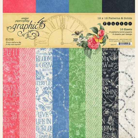 New! Graphic 45 FLUTTER 12x12 Patterns & Solids Double-Sided Scrapbook Paper Pad