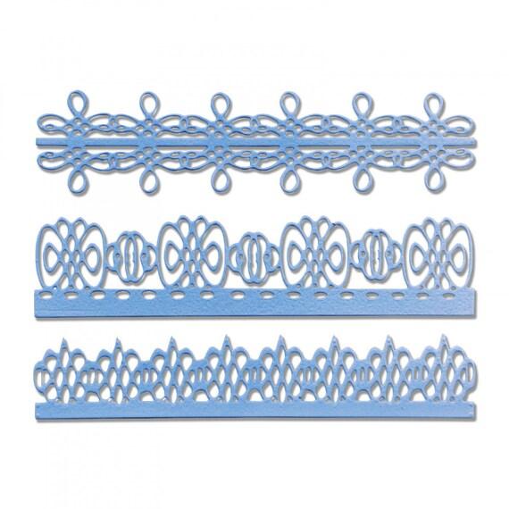 New! Sizzix Thinlits Die Set 3PK - Bordes Delicados (Delicate Borders) by Luisa Elena Guillen-K (663218)
