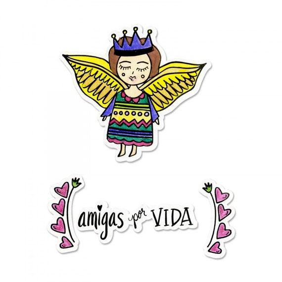 New! Sizzix Framelits Die Set 4PK w/Stamps - Amigas por Vida (Friends for Life) by Crafty Chica 663140